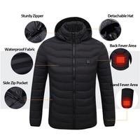 Electric Heated Jackets Men USB Heating Men's Jacket Winter Solid Parka Men Long Sleeve Hooded Thermal Winter Coat Men Outerwear
