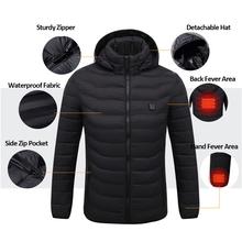 Elektryczne podgrzewane kurtki mężczyźni USB ogrzewanie męska kurtka zimowa jednolity kolor kurtka typu parka mężczyźni z długim rękawem z kapturem termiczny płaszcz zimowy mężczyźni odzież wierzchnia tanie tanio Skręcić w dół kołnierz REGULAR COTTON 20181102MF16 STANDARD Suknem 0 8kg Poliester Luźne Kieszenie zipper NONE Stałe