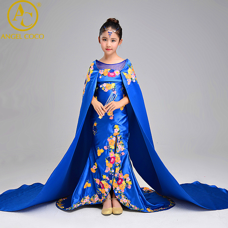 Girls Models Catwalk Dress Embroidery Chinese Cheongsam Tailing Children Shawl Presided Over Performance Mermaid Evening Dresses a three dimensional embroidery of flowers trees and fruits chinese embroidery handmade art design book