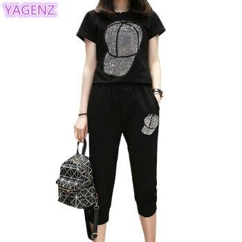 Conjunto de chándal de dos piezas de talla grande YAGENZ, conjunto de Tops de verano para mujeres, ropa deportiva fina Casual 2020, gorra con diamante y Pants119