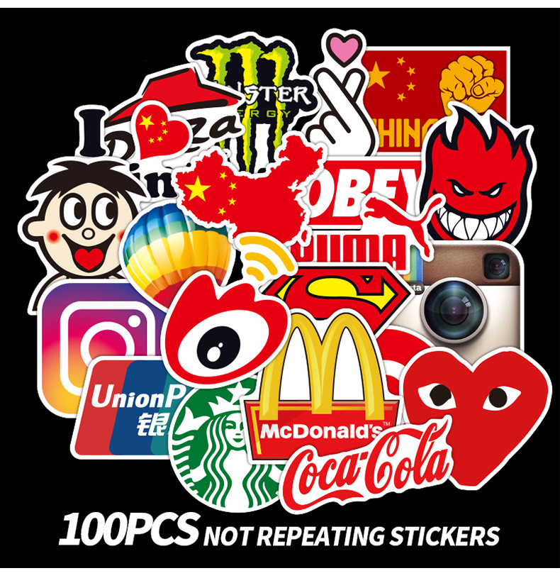 100Pcs Fashion Brand Graffiti Sticker Laptop Macbook Guitar Water Cup Skateboard Surfboard Decal Luggage Bicycle Fridge Sticker