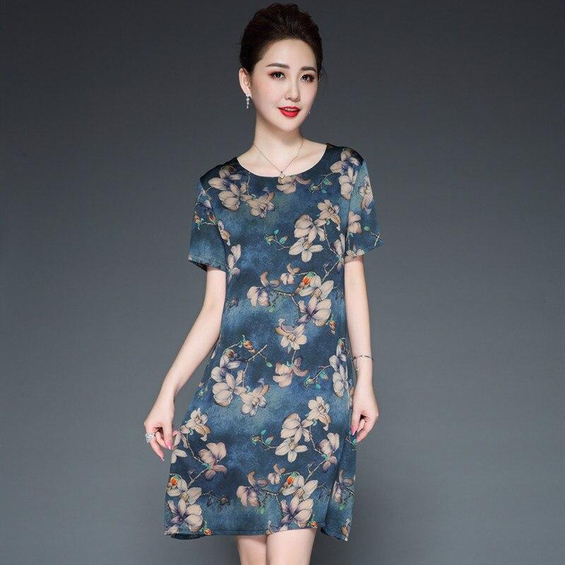 LHZSYY 2019 été nouvelle robe en soie fine en tricot O cou doux et sauvage haut de gamme femmes tempérament mère grande taille longue robe à fleurs