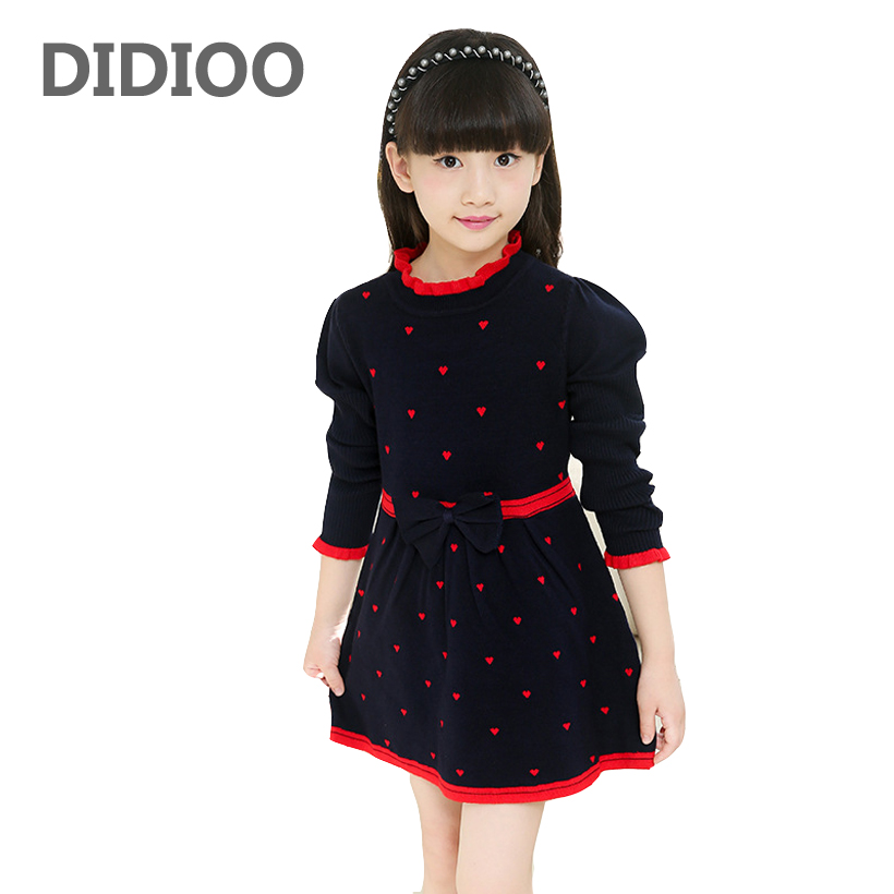 Kids Sweaters Dresses For Girls Children Clothing Cute Bow Knitted Sweaters Autumn Winter Bottoming Dresses Children Knitwear 12 korea lace knitted sweaters warm dresses winter baby wear clothes girls clothing sets children dress child clothing kids costume