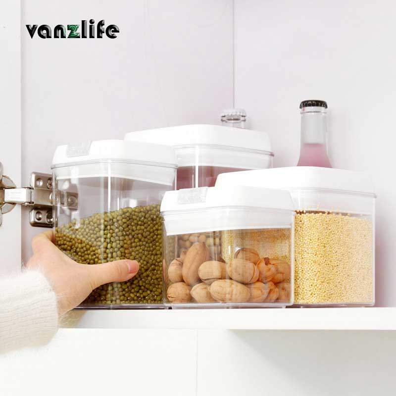 Vanzlife Food-Storage-Tank Plastic Square Transparent Creative Large-Size K2278 Canisters