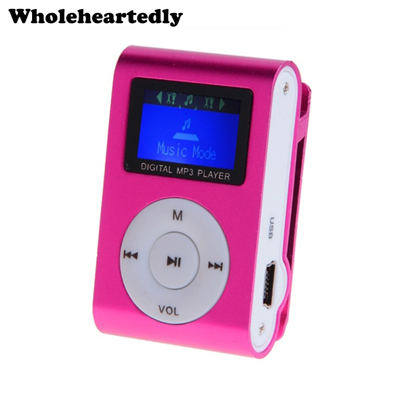 New Arrival Mini Clip Mp3 Player Music Speaker Portable LCD Screen Metal TF/SD Slot With MP3+Earphone+USB Cable Wholesale