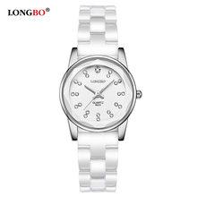 298590baad4 Amantes LONGBO Marca 2017 Famale Branco Cerâmica Relógios Das Mulheres Dos  Homens Casuais Relógio de Quartzo Mujer Luxo Casal Re.