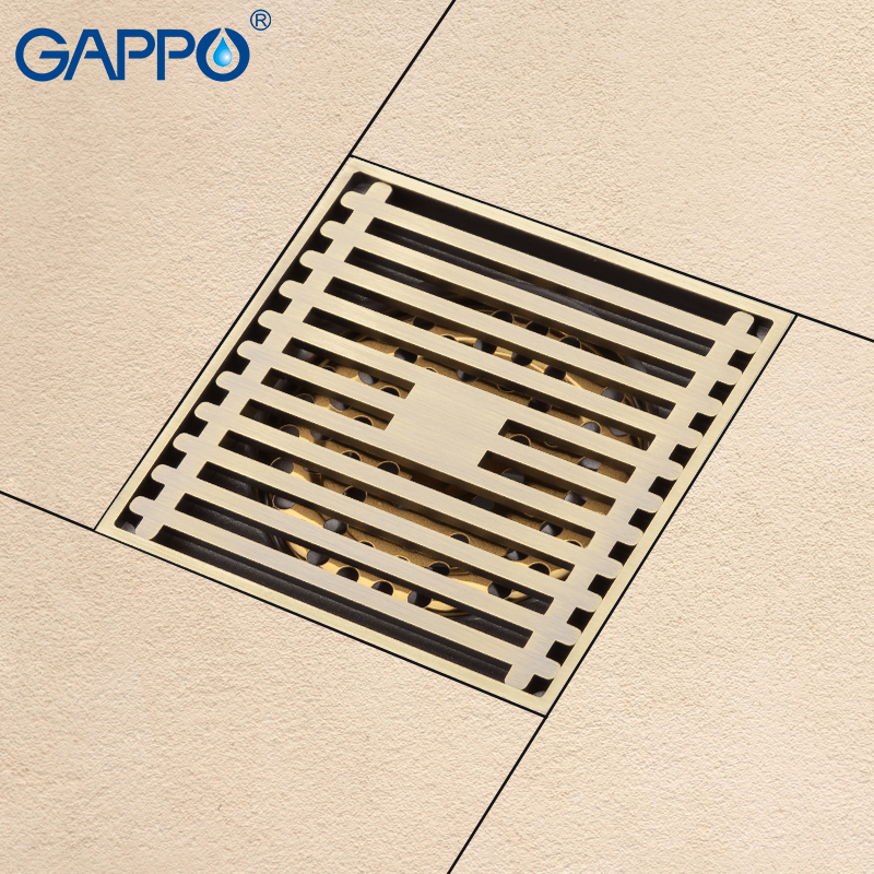 GAPPO drains bathroom shower floor drains square floor cover anti-odor shower drain strainer Antique Brass bathroom waste drains