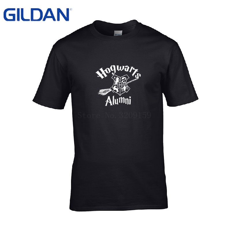 black t-Shirt men Hogwarts Alumni Harry t Shirt homme 100% cotton casual tShirt fashion Better Printing Pre-Cotton Fitness