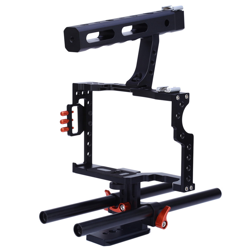 Camera Cage Rig Commlite CS-V5 Standard 15MM Rod Video Stabilizer Aluminum Camera Cage Rig For Micro DSLR Cameras dslr rod rig camera video cage kit