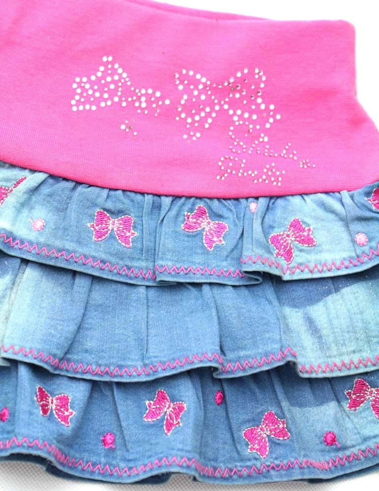 2 8Y Children Blue Denim Skirts Bows Floral Embroidery Rhinestones Jean Clothe Girls Pink Party Mini Fluffy MH2241 In From Mother Kids On