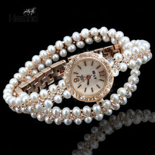 Hesiod Luxury Multilayer Imitation Pearl Women's Quartz Watch Small Round Dial Lady Fashion(China)