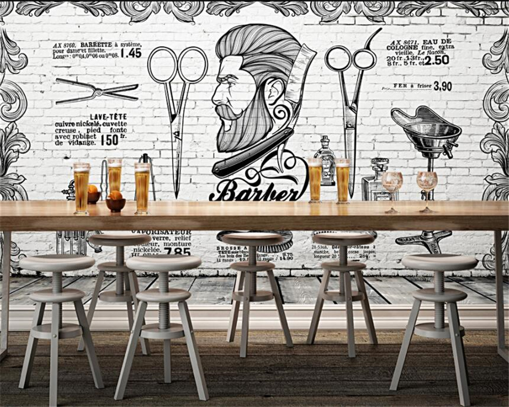 Beibehang Custom Wallpaper Vintage European And British Retro Trend Barber's Hair Salon Wall Wallpaper For Walls 3 D Behang