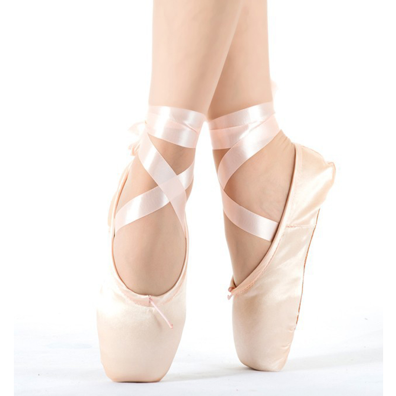 Drop-shipping Child And Adult Ballet Pointe Dance Shoes Ladies Professional Ballet Dance Shoes With Ribbons Shoes Woman