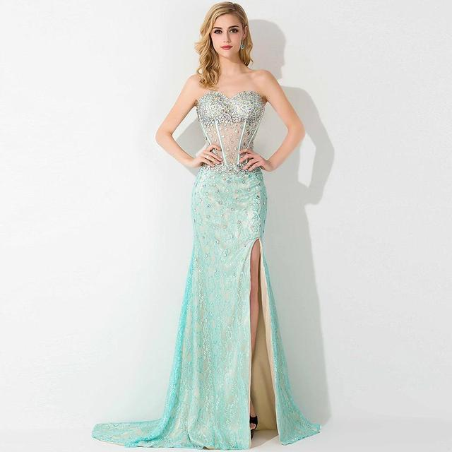 Louisvuigon Women Crystal Beaded Lace See Through Prom Dresses 2015 ...