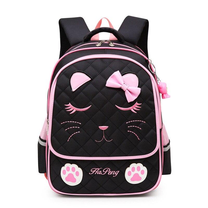 Cartoon Cute Cat School Bags For Girl Orthopedic Pupils Backpacks Children Waterproof Schoolbags Thicken Shoulder Strap Mochila