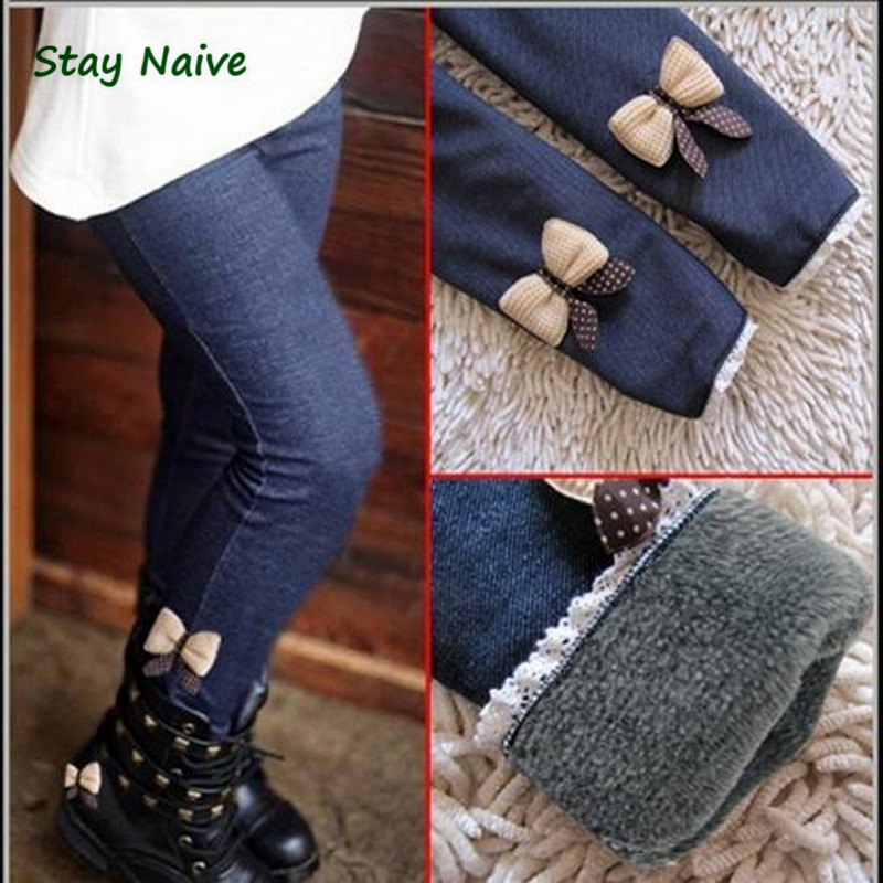 2017 new kids girls jean bow pants cotton cashmere pants elastic waist girls legging warm pants winter spring children pants