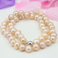 Natural freshwater white orange cultured 8-9mm pearl beads for women necklace jewelry making gifts diy choker chain 18inch B3231