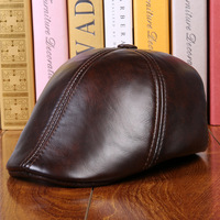 Men's 100% cowhide leather beret autumn and winter warm quilted middle aged knight cap high quality leather protect ear cap