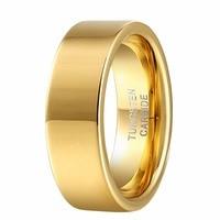 Altın Renk Düz Düz Halka Erkekler için Kadınlar için 8mm Tungsten Karbür Düğün Nişan Band Çiftler WTU065R