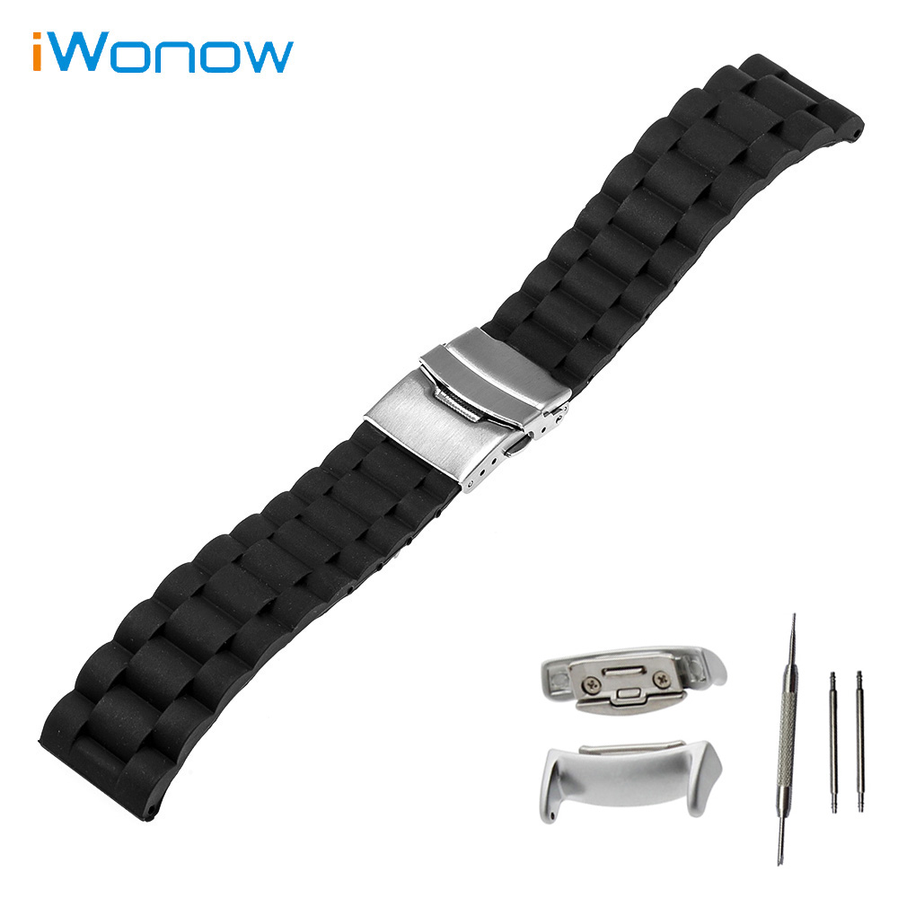 Silicone Rubber Watch Band 18mm for Samsung Gear Fit 2 SM-R360 Stainless Steel Safety Buckle Strap Wrist Belt Bracelet + Adapter luxury silicone watch replacement band strap for samsung gear fit 2 sm r360 wristband 100