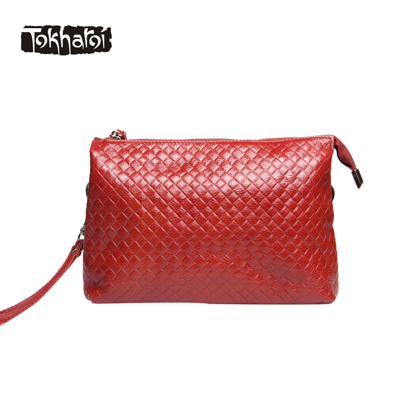 Tokharoi Brand Design Women Genuine Leather Bag Female Diamond Lattice Wallet Fashion Luxury Day Clutches Bag Red For Women 2017 hmily genuine leather crossbody bag female diamond lattice messenger bag luxury socialite daily bag chaibs style women bag