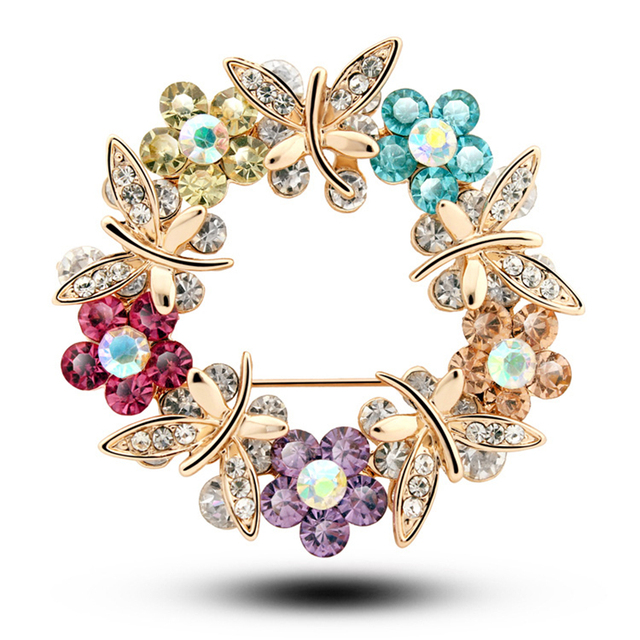 New Design  Luxury Multi-Color Crystal Rhinestone Alloy Butterfly Brooches For Women&Free Shipping 2016 Fashione Grace Lapel Pin