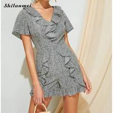 2019 Beach Style Rompers Women Jumpsuits New Fashion Floral Printed Ruffle Short V Neck Playsuits Causal Summer Overalls Women