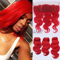 Guanyuhair Red Human Hair 3 Bundles With 13x4 Lace Frontal Closure Ear to Ear Peruvian Body Wave Virgin Hair