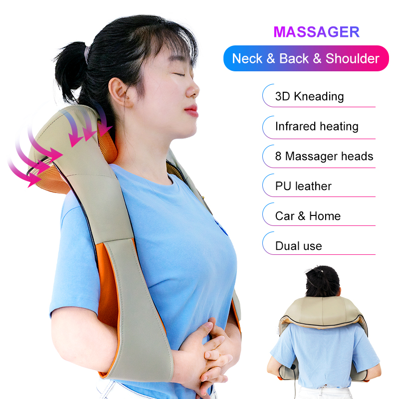Cofoe shoulder and neck electric massage 3D rotary massage heating kneading to relieve fatigue and relieve pain Car/home massage(China)