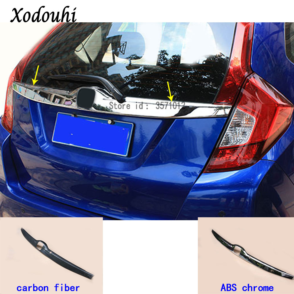 For Honda Fit jazz 2014 2015 2016 2017 car cover stick Rear License Plate door bottom tailgate frame plate trim lamp Strip 1pcs цена