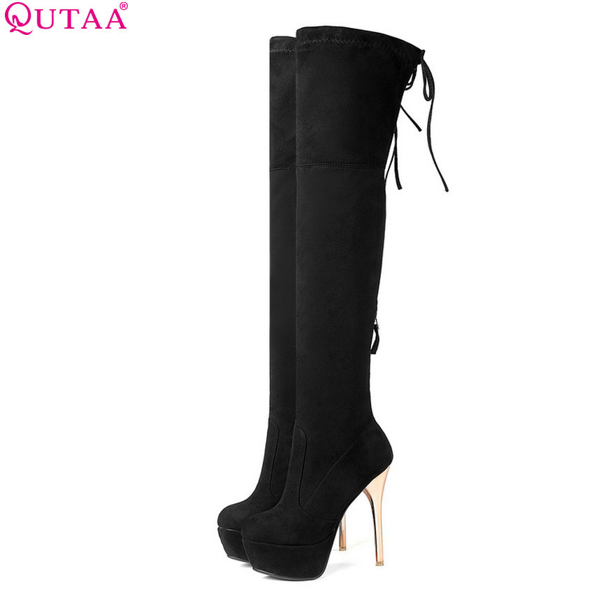 QUTAA 2019 Women Over The Knee High Boots Sexy Platform All Match Thin High Heel Winter Shoes Round Toe Women Boots Size 34-43 new arrival sexy over the knee boots women platform round toe thin high heels boots black white shoes woman winter