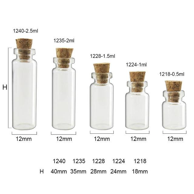 54cb7ab32e7e US $15.21 10% OFF 100 x Hot Fashion Small Glass jars Cute Mini Wishing Cork  Stopper Glass Bottles Vials Containers 0.5ml 1ml 1.5ml 2ml till 5ml-in ...