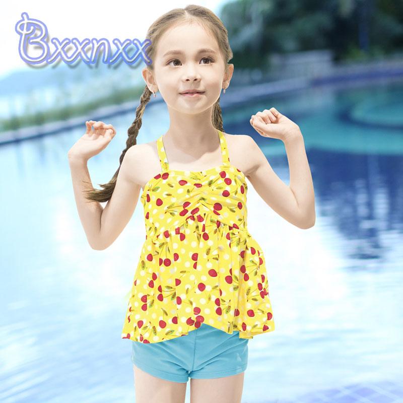 b195624a40c20 Online Shop Print Cherry Lovely Tankini Girls Boxers Yellow Blue Swimsuit  Kids Bandeau Beach Swimwear Child With Skirt Baby New Bathing Suit    Aliexpress ...