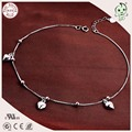 Good Quality Simple Design Casual And Sport Style 925 Authentic Silver Love Heart Pendant Charm Foot Anklet Chain For Women