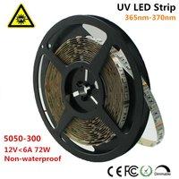 Unvarysam ультрафиолетового Светодиодные ленты 365nm 370nm 375NM 380NM 385NM 5 м 12 В SMD5050 300 светодиодный s УФ ультрафиолетового для УФ обработки металла трещи