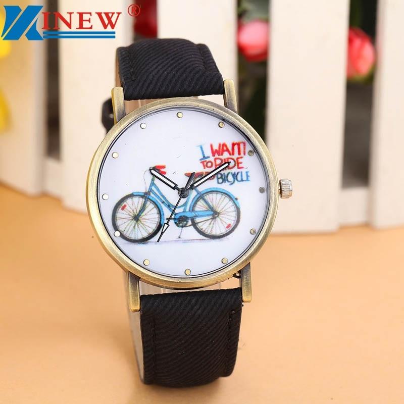 Watches Women Denim Feminino Creative Fashion Quartz -0110 Strap Bicycle-Pattern Relogio
