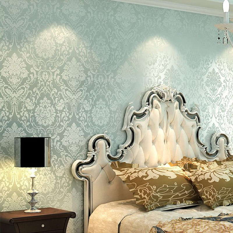 no tejido en relieve papel pintado dormitorio moderno de paredes de papel pintado del damasco