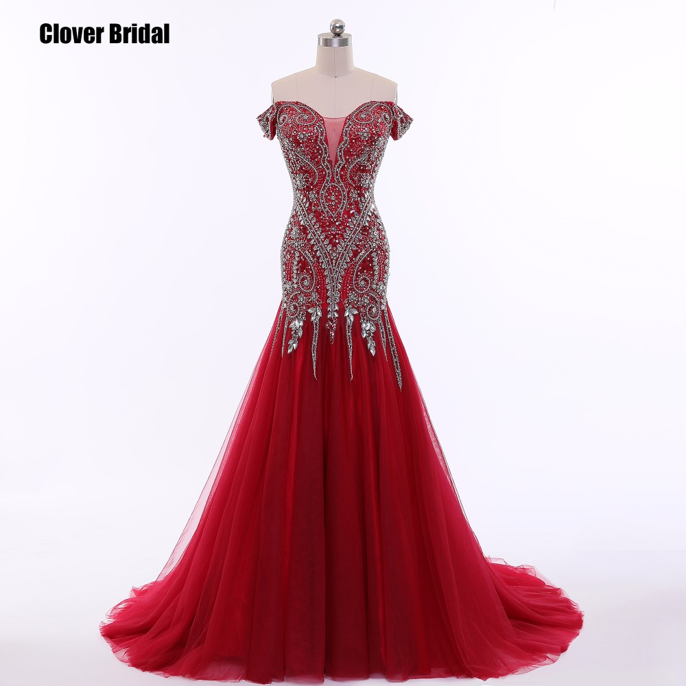 CloverBridal high quality rhinestones acrylic off-the-shoulder burgundy   prom     dress   gala crystals long evening formal women