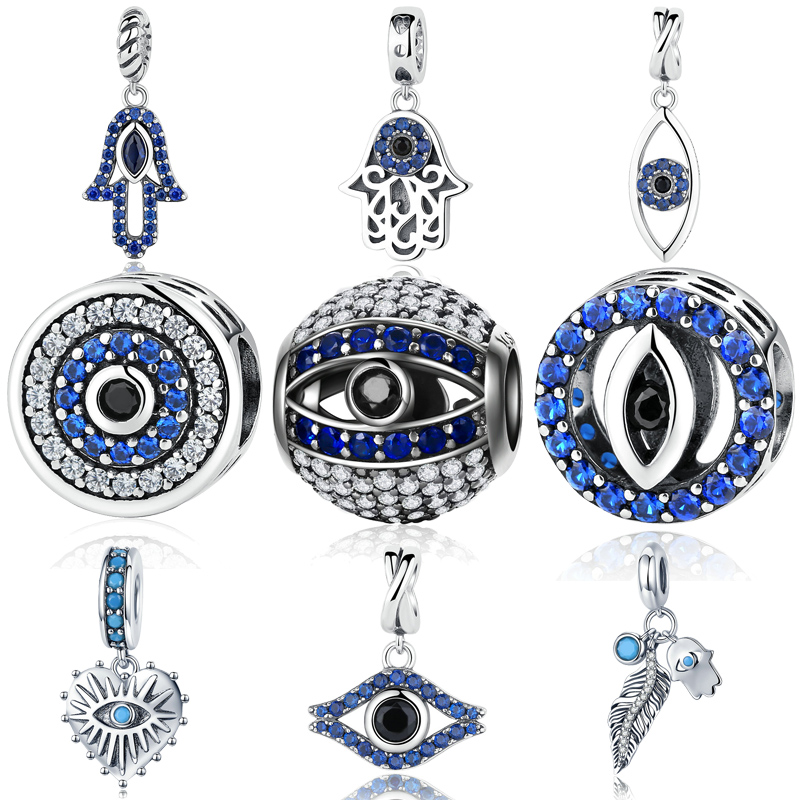 MYBEBOA Genuine 925 Sterling Silver Blue Eyes Evil Eye Of Nazar Lucky Guardian Beads fit Original Pandora Bracelet Charm Jewelry pandora s eyes