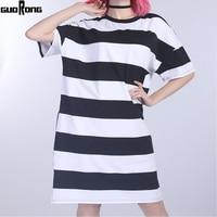 guoRong Summer Street Style t-shirt Women tshirt Short Sleeve O-Neck Tie-Dye Long Tunic Top stripe T-shirt Loose Female Tops