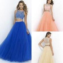 Nach Maß 2 Stück Prom Kleider 2015 Korallenfarbig Lange Abschlussball-kleider Kristall Cocktail Party Kleid