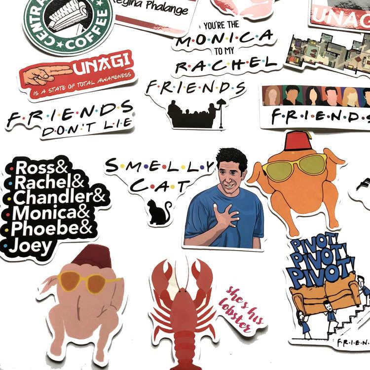 34 pçs/lote amigos decalque adesivos eua série tv para computador portátil skate bagagem carro bicicleta mochila decalque pegatinas brinquedo adesivos