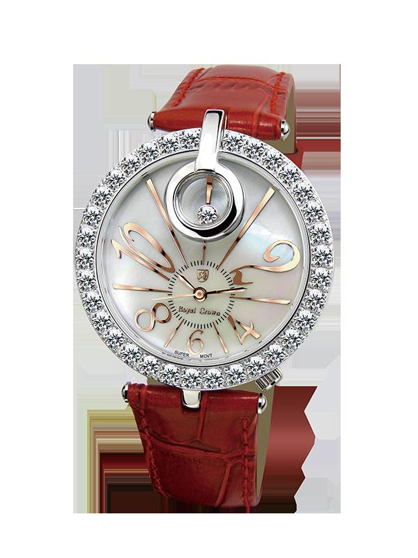 Royal Crown Jewelry Watch 3850 Italy brand Diamond Japan MIYOTA platinum Genuine Leather strap fashion female Wristwatches