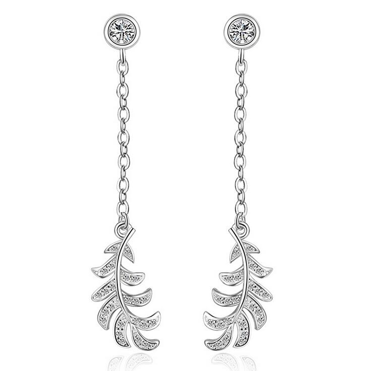 Υψηλής ποιότητας γυαλιστερά κρύσταλλα φτερά αγγέλου ασημένια γυναικεία μακριά φούντες καρφιά σκουλαρίκια δώρο κοσμήματα χονδρικής