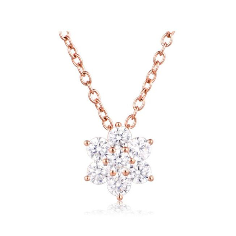 2018 18K Gold Luxury Crystal Snowflake Necklaces & Pendants Genuine 18K AU750 Necklace Accessory Gift For Women anna karenina