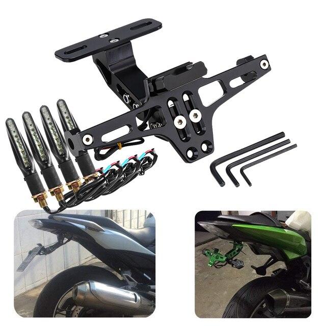 Traseira Da Motocicleta Universal License Plate Mount Holder e Transformar a Luz do Sinal Para Honda Para Kawasaki Z750 R3 Z800 R6 MT07 MT09 MT10