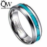 Queenwish 6mm Anello di Modo del Carburo di Tungsteno Anello Intarsio Turchese delle Donne degli uomini di Fidanzamento Promessa Wedding Band