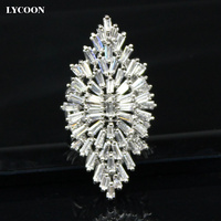 Newest Arrival Party Ring Plated Real Platinum Prong Setting White Rectangle Crystal Rings In Flower Design