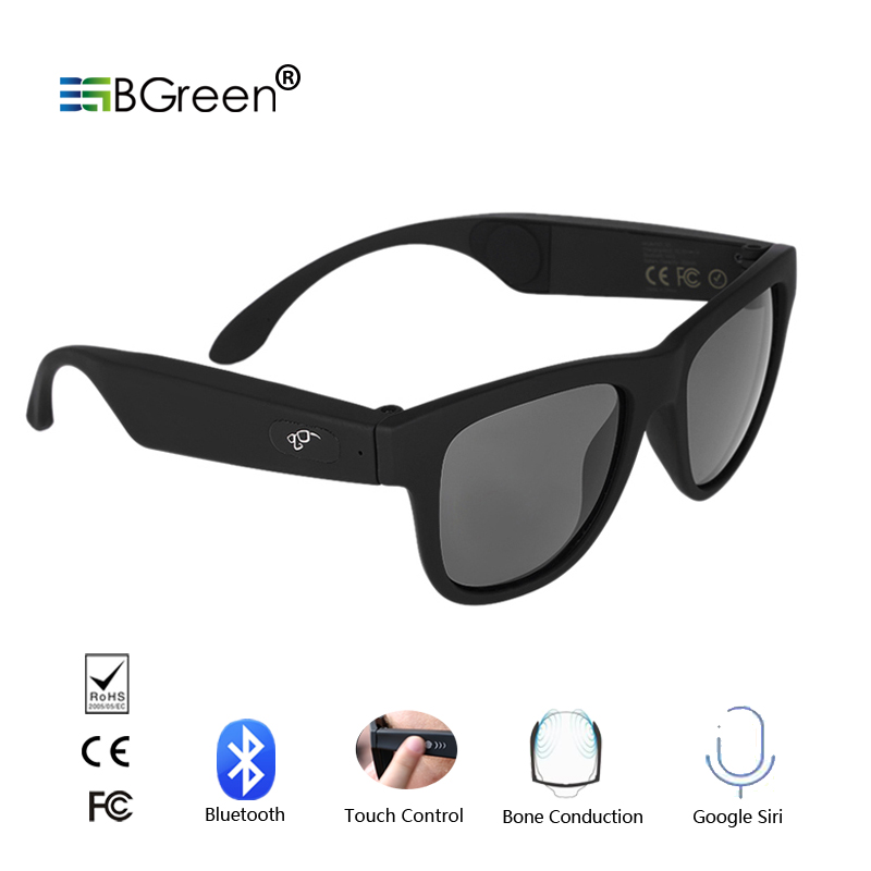 BGreen Bone Conduction Bluetooth Smart Sport Sunglasses Wireless Stereo Music Sunglasses Sports Headset <font><b>Headphone</b></font>