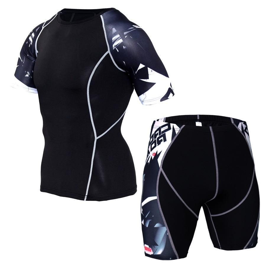 Mma Rashguard Muay Thai T Shirt Shorts Suit Printed Breathable Elastic Compression MMA Short Boxing Jersey Fitness Gym Training
